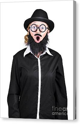 Shock Canvas Print - Shocked Mad Professor Woman Dressed As Man by Jorgo Photography - Wall Art Gallery