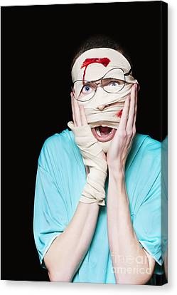 Shock Canvas Print - Shocked Patient Nursing A Broken And Bloody Head by Jorgo Photography - Wall Art Gallery