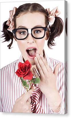 Shocked Romantic Nerdy Girl Holding Red Rose Canvas Print