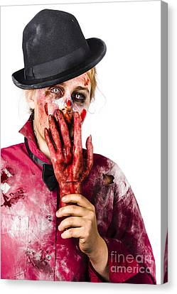 Shocked Zombie Holding Severed Hand. Dead Silence Canvas Print