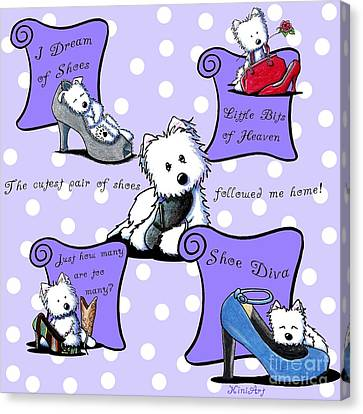 Dog Canvas Print - Shoe Diva Westies by Kim Niles