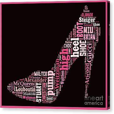 Shoe Lover Word Cloud Canvas Print