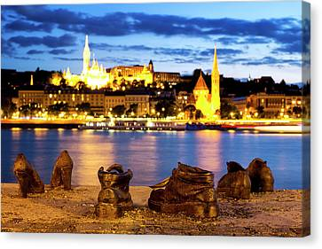 Canvas Print featuring the photograph Shoes On The Danube Bank by Fabrizio Troiani