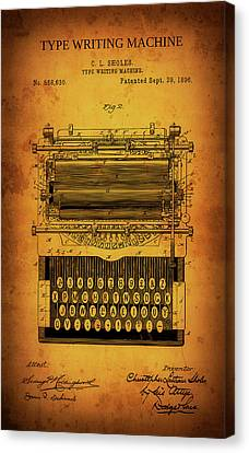 Typewriter Keys Canvas Print - Shole's Type Writing Machine Patent 1896 by Daniel Hagerman