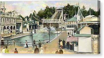 Shoot The Chutes.1907 White City   Canvas Print by Mark Tonelli