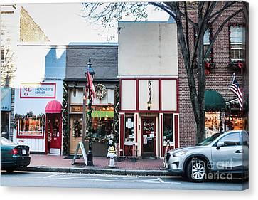 Shop Fronts Of Fredricksburg Virginia Canvas Print