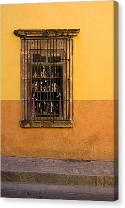 Shop Window San Miguel De Allende Canvas Print by Carol Leigh