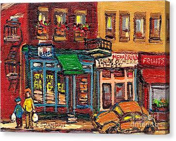 St.viateur Bagel Canvas Print - St Viateur Bagel Shop And Mehadrins Kosher Deli Best Original Montreal Jewish Landmark Painting  by Carole Spandau