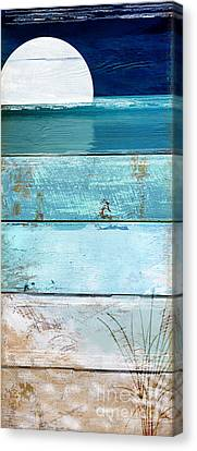 Shore And Moonrise Canvas Print by Mindy Sommers