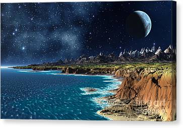 Shore And Ocean Canvas Print by Heinz G Mielke