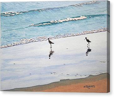 Shore Birds Canvas Print by Mike Robles