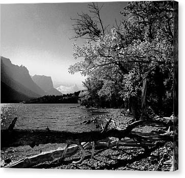 Shoreline Black And White Canvas Print