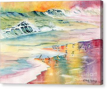 Shoreline Watercolor Canvas Print by Melly Terpening
