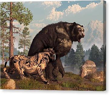 Short-faced Bear And Saber-toothed Cat Canvas Print by Daniel Eskridge