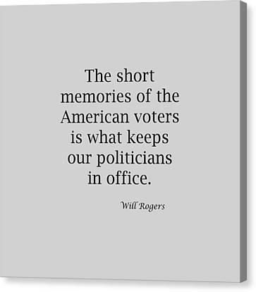 Short Memories Of American Voters 5447.02 Canvas Print by M K  Miller