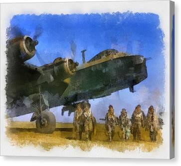 Raf Canvas Print - Short Stirling And Aircrew Wwii by Esoterica Art Agency