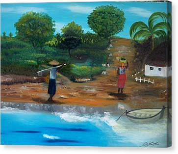 Canvas Print featuring the painting Shortcut By The Beach by Nicole Jean-Louis