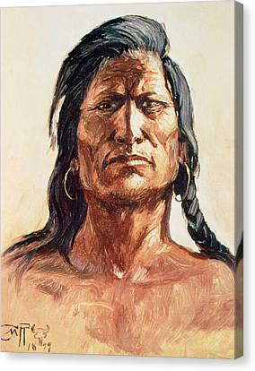 Braids Canvas Print - Shoshone Tribesman by Charles Marion Russell