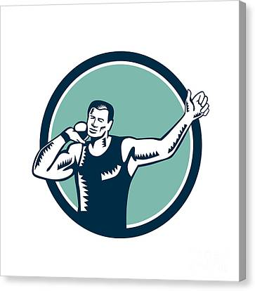 Shot Put Track And Field Athlete Woodcut Canvas Print by Aloysius Patrimonio