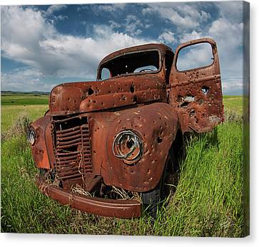 Old Trucks Canvas Print - Shot Up by Leland D Howard