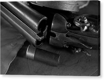 Shotgun Black And White Canvas Print by Wilma  Birdwell