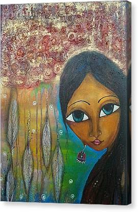 Canvas Print featuring the mixed media Shower Of Roses by Prerna Poojara