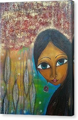Shower Of Roses Canvas Print by Prerna Poojara