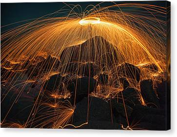 Red Fireworks Canvas Print - Showers Of Hot Glowing Sparks by Anek Suwannaphoom