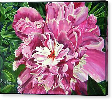 Canvas Print featuring the painting Showy Pink Peony by Lee Nixon