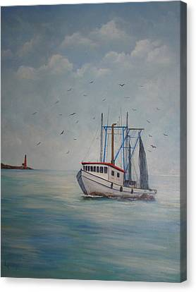 Shrimp Boat Canvas Print by Carolyn Speer