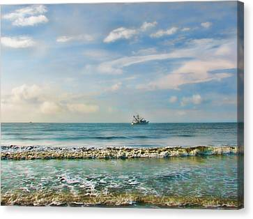 Shrimp Boat Canvas Print - Shrimp Boat Off Kiawah by Amy Tyler