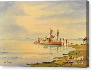 Canvas Print featuring the painting Shrimp Boat Sunset by Bill Holkham