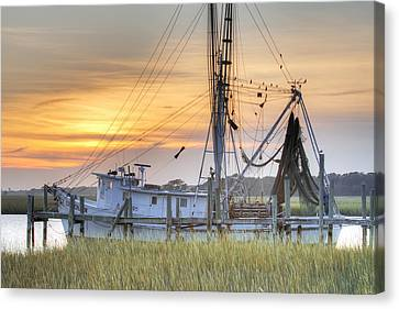 Net Canvas Print - Shrimp Boat Sunset Charleston Sc by Dustin K Ryan