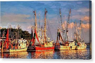 Shrimp Boats Shem Creek In Mt. Pleasant  South Carolina Sunset Canvas Print by Carol R Montoya