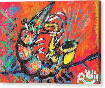 Shrimp On Sax Canvas Print by Robert Wolverton Jr