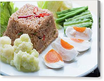 Canvas Print featuring the photograph Shrimp Paste Fried Rice by Atiketta Sangasaeng