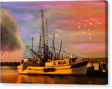Shrimpers At Dock Canvas Print