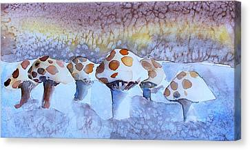 Button Mushrooms Canvas Print - Shrooms by Mindy Newman