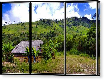 Canvas Print featuring the photograph Shuar Hut In The Amazon by Al Bourassa