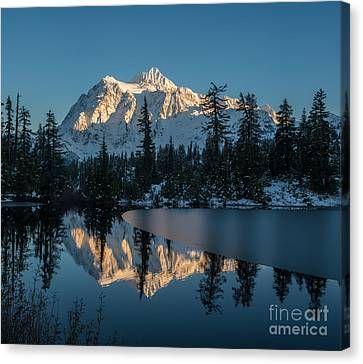 Shuksan Picture Lake Almost Frozen Canvas Print by Mike Reid