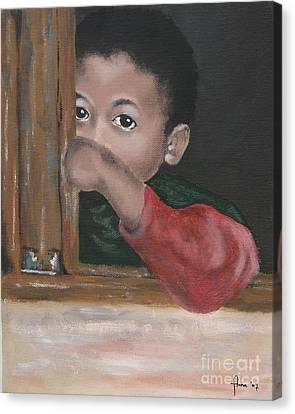 Canvas Print featuring the painting Shy by Annemeet Hasidi- van der Leij