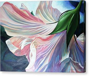 Canvas Print featuring the painting Shy Bloom by Jan Swaren