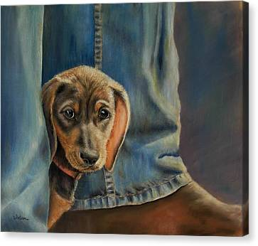 Canvas Print featuring the painting Shy Boy by Ceci Watson