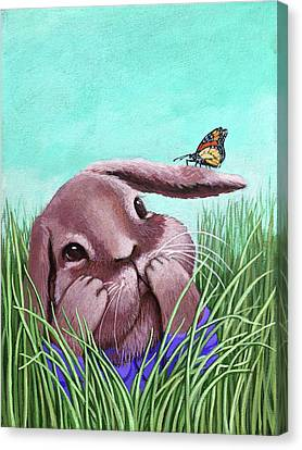 Shy Bunny - Original Painting Canvas Print by Linda Apple