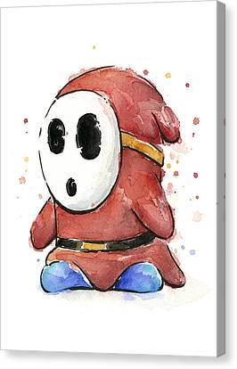 Shy Guy Watercolor Canvas Print by Olga Shvartsur