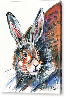 Canvas Print featuring the painting Shy Hare by Zaira Dzhaubaeva