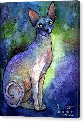 Watercolor Pet Portraits Canvas Print - Shynx Cat 2 Painting by Svetlana Novikova