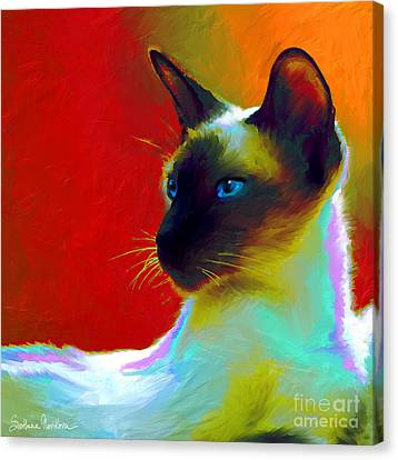 Contemporary Digital Art Canvas Print - Siamese Cat 10 Painting by Svetlana Novikova