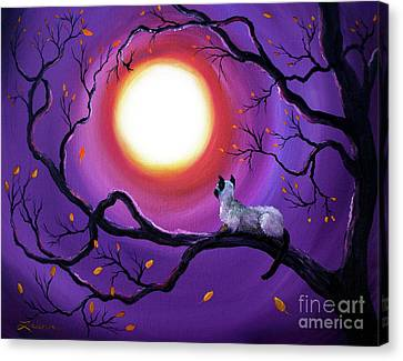 Siamese Canvas Print - Siamese Cat In Purple Moonlight by Laura Iverson