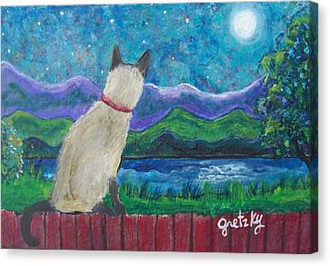 Siamese Cat In The Moonlight Canvas Print by Paintings by Gretzky